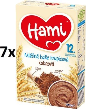 Hami Kaše mléčná krupicová s kakaem - 7x225g