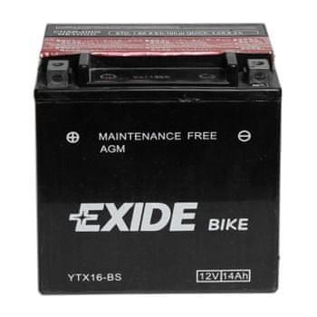 Exide bezúdržbová AGM baterie YTX16-BS, 12V 14Ah, za sucha nabitá. Náplň součástí balení.