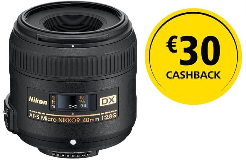 Nikon Nikkor AF-S Micro 40 f/2,8 G DX + 800 Kč od Nikonu zpět!