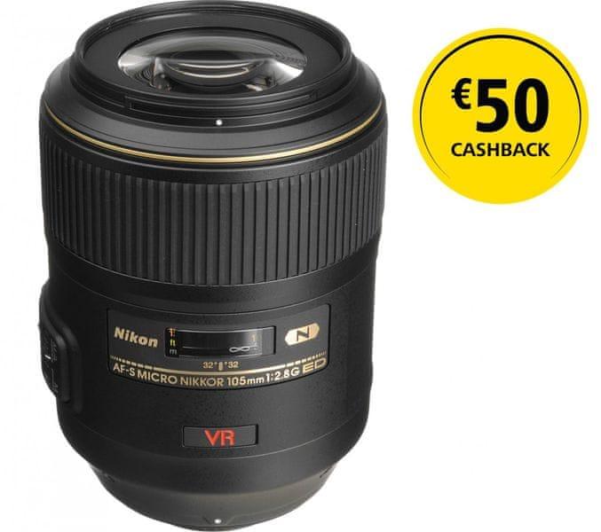 Nikon Nikkor AF-S 105 mm f/2,8 MICRO IF-ED VR + 1350 Kč od Nikonu zpět!
