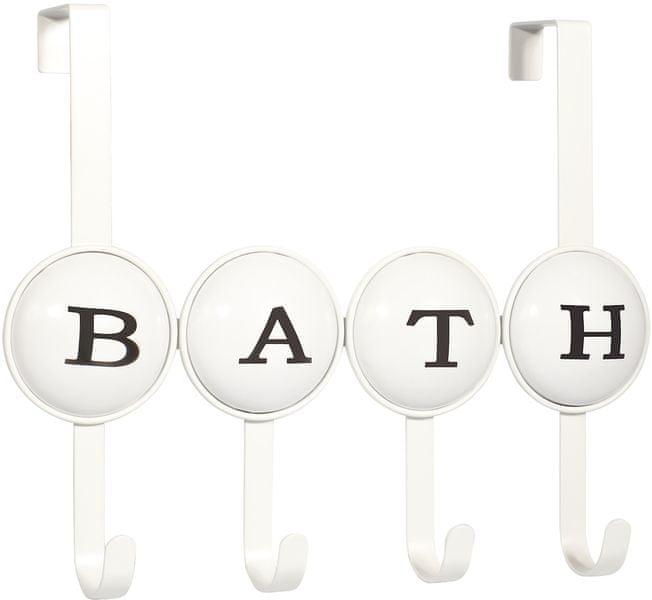 TimeLife Věšák na dveře Bath, 4 háčky, bílá