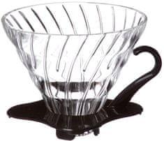 Hario sklenený dripper V60-02, čierny