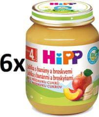 HiPP Jablká s banánmi a broskyňami - 6 x 125g
