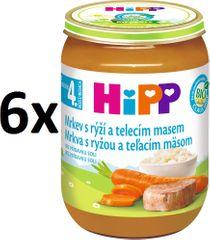 HiPP Karotka s ryžou a teľacím - 6 x 190g