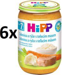 HiPP Zelenina s ryžou a teľacím mäsom - 6x220g