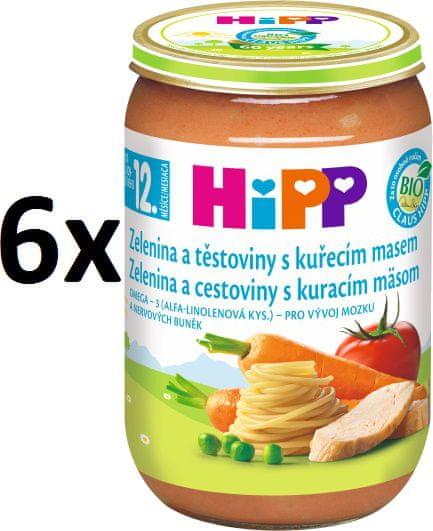 HiPP Zelenina a těstoviny s kuřecím masem - 6x220g