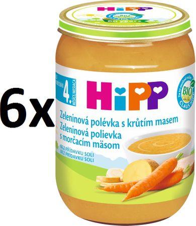 HiPP Zeleninová polievka s morčacím mäsom - 6x190g