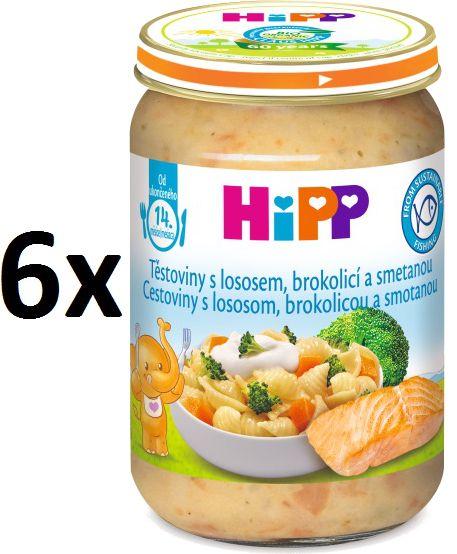 HiPP Těstoviny s lososem, brokolicí a smetanou, 6 x 250g