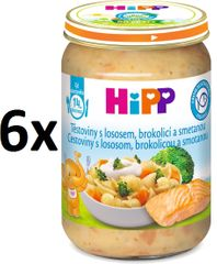 HiPP Cestoviny s lososom, brokolicou a smotanou, 6 x 250g