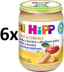 HiPP BIO Jablka a banány s dětskými keksy - 6 x 190 g