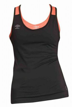 Umbro TANK TOP Womens Black/Fiery coral XL