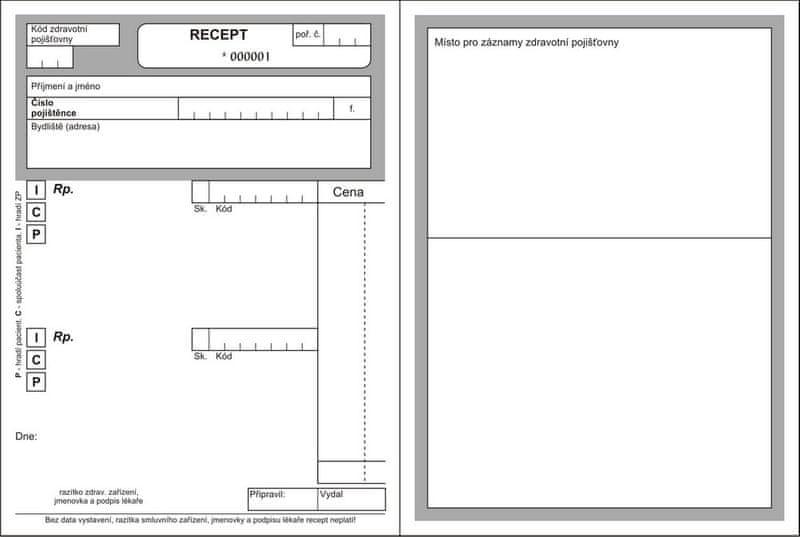 Lékařský recept A6, blok 100 L, nečíslovaný, nový typ