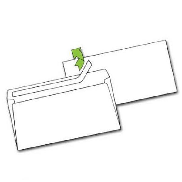 Obálka DL samolepicí s okénkem, s krycí páskou, VT, 50 ks, 110 x 220