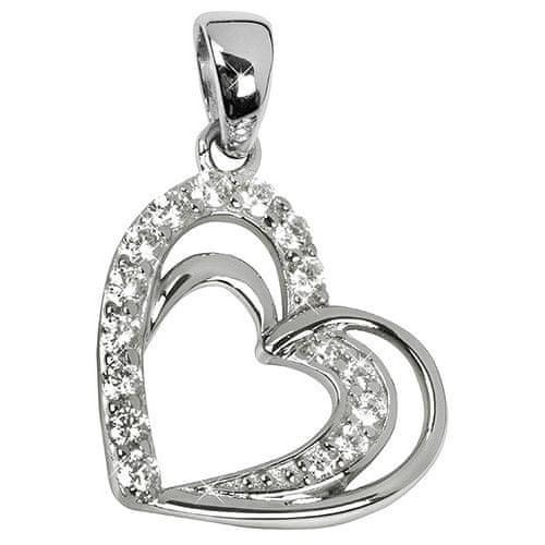 Silver Cat Stříbrný přívěsek ve tvaru srdce s krystaly SC169