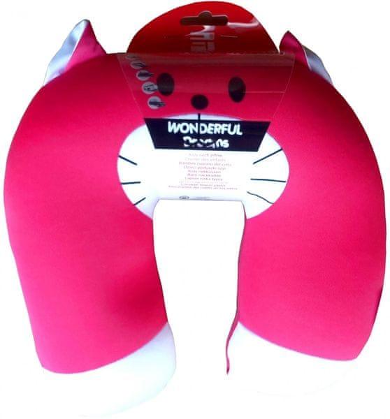 Dětský cestovní polštářek Růžová kočka