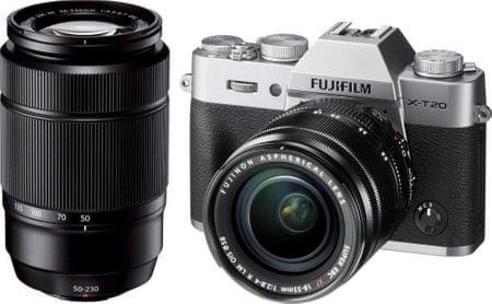 FujiFilm X-T20 + 16-50 + 50-230, srebrny