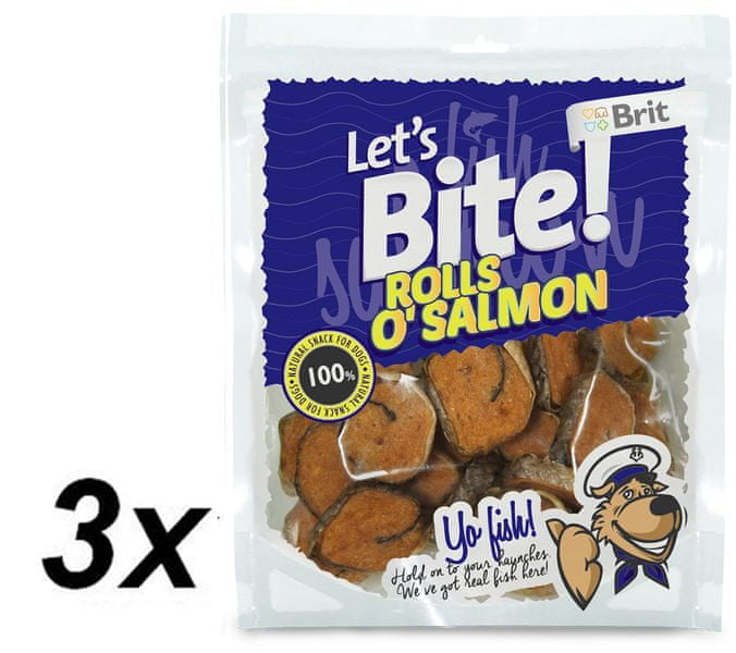 Brit Lets Bite Rolls o'Salmon 3 x 80 g