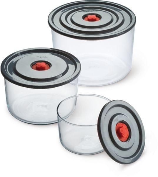 Simax 3-dílná souprava zásobníků s plastovým víkem