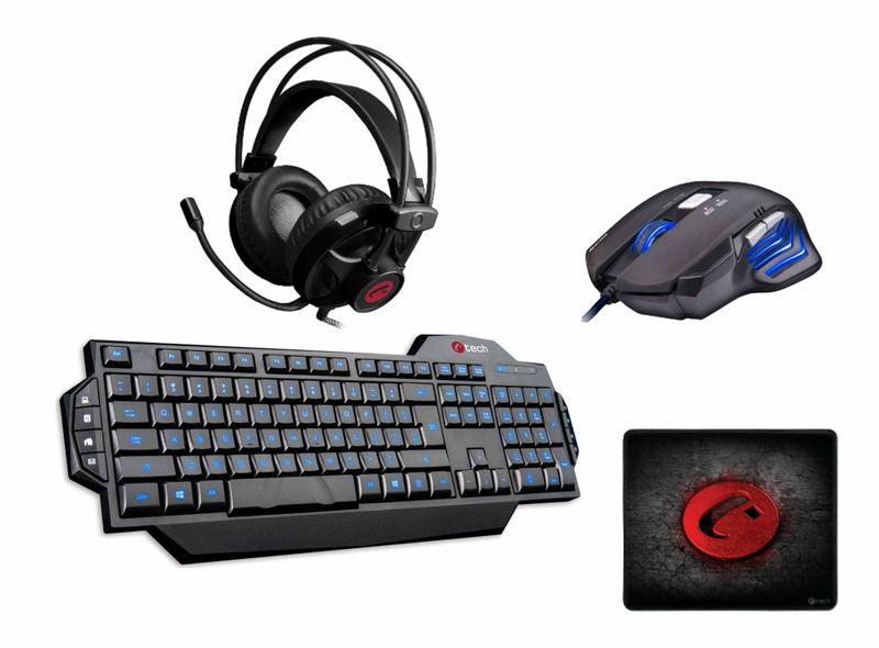 C-Tech herní set klávesnice, myš, sluchátka a podložka