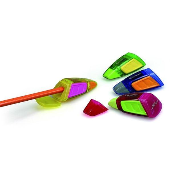 Ořezávátko plastové Y-Plus Cleaner 1 otvor zásobník+víčko mix barev