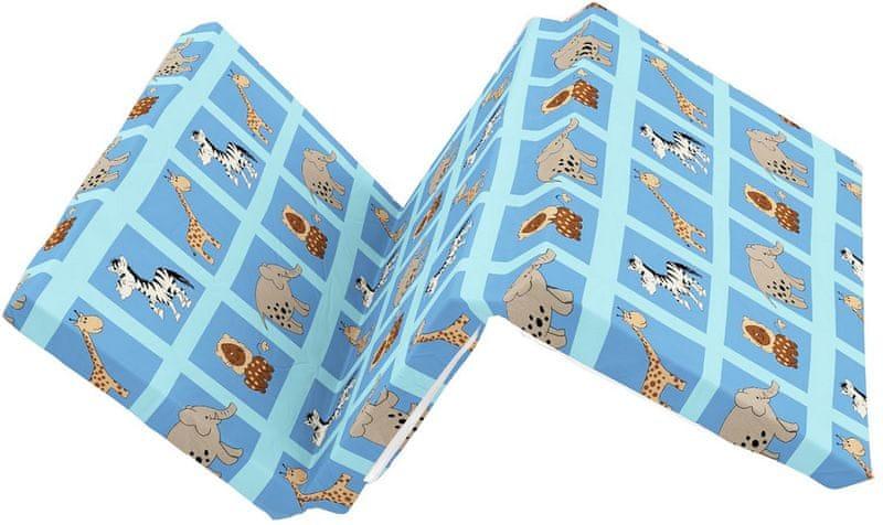 Kvalitex Skládací matrace do postýlky, ZOO modrá