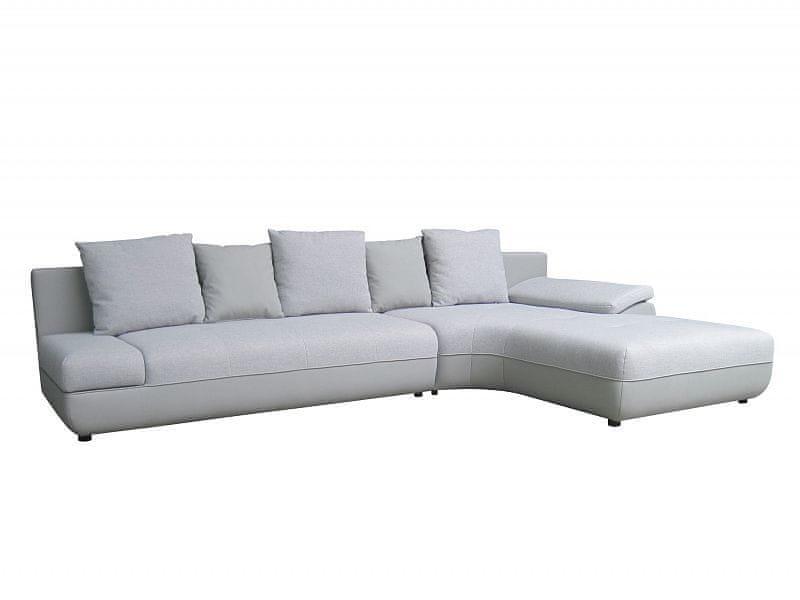 Rohová sedačka BIG KING II LUX, pravá, bílá/šedá