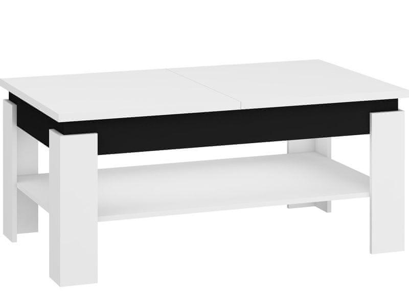 Konferenční rozkládací stolek BOSTON, bílá/černý lesk