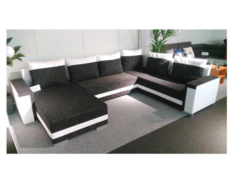 Rohová sedačka TUNNIS 1, univerzální, černá látka/bílá ekokůže