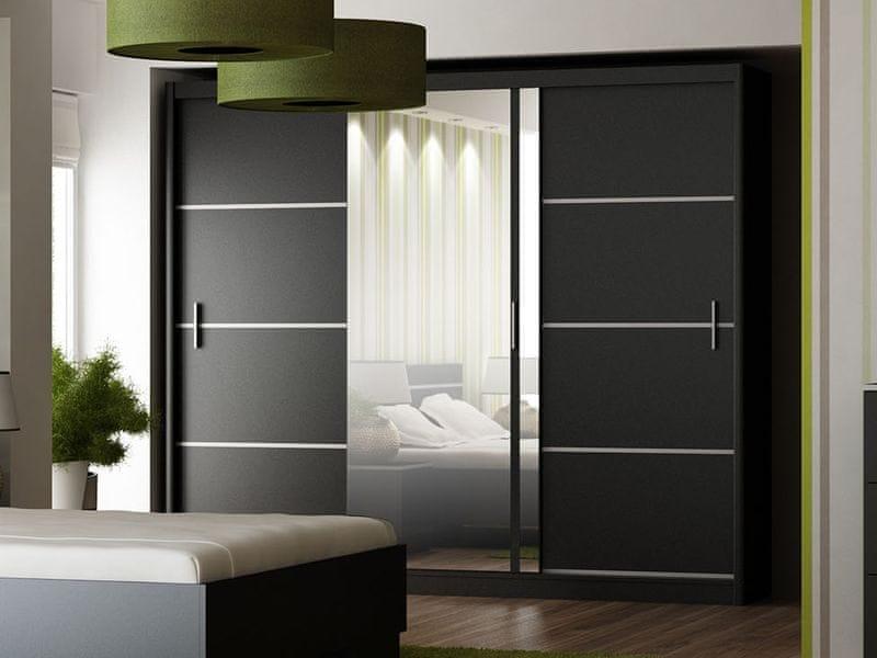 Šatní skříň s posuvnými dveřmi VISTA 250, černá