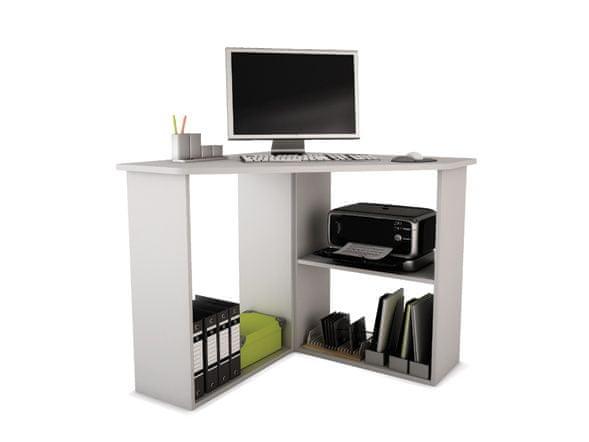 Rohový psací stůl PONNY, bílá
