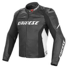 Dainese pánská kožená bunda na motorku RACING D1 PELLE černá/bílá
