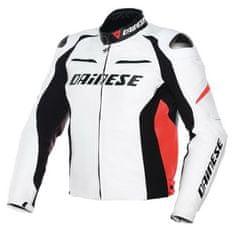 Dainese pánská kožená bunda na motorku RACING D1 PELLE bílá/černá/fluo červená