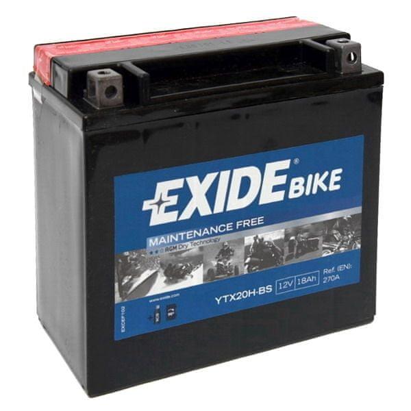 Exide bezúdržbová AGM baterie YTX20H-BS, 12V 18Ah, za sucha nabitá. Náplň součástí balení.