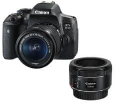 Canon DSLR fotoaparat EOS 750D + EF-S 18-55mm IS STM + EF 50mm f/1,8 STM