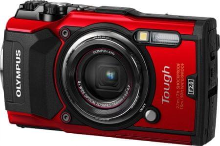 Olympus digitalni fotoaparat Tough TG-5, podvodni, rdeč
