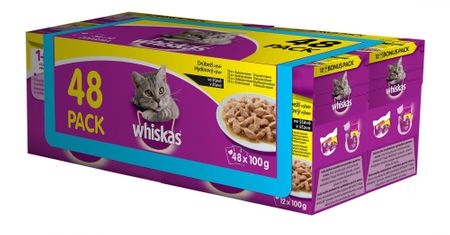 Whiskas Alutasakos macskaeledel, 4 x ( 12 x 100g)