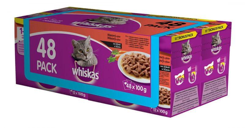 Whiskas Masový výběr ve šťávě BONUS 4 x 12 pack