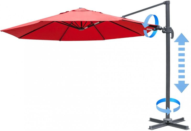 Myard Verona - boční slunečník 3,5 m, červený