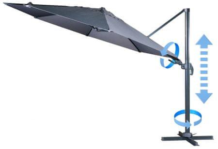 MAKERS Verona - boční slunečník 3,5 m, šedý - rozbaleno