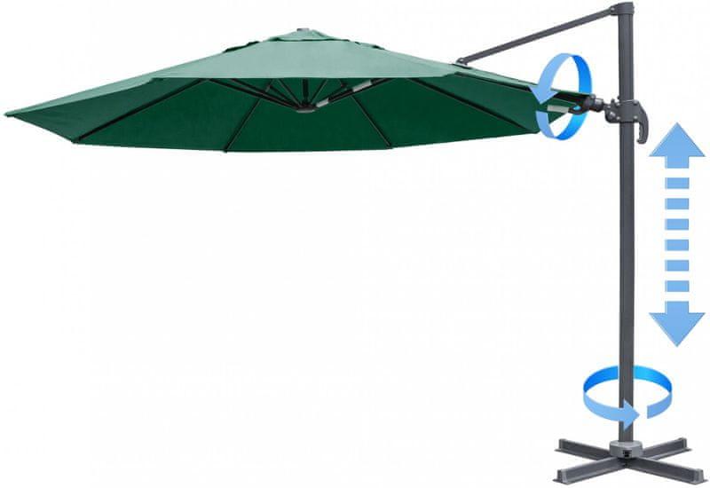 Myard Verona - boční slunečník 3,5 m, tmavě zelená