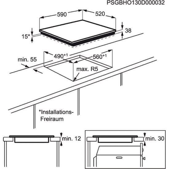 Electrolux steklokeramična kuhalna plošča EHF6140FOK