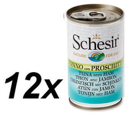 Schesir konzerva s tuno + šunka, 12 x 140 kg