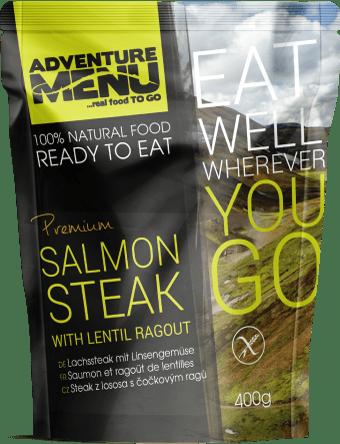 Adventure Menu Steak z lososa s čočkovým ragú