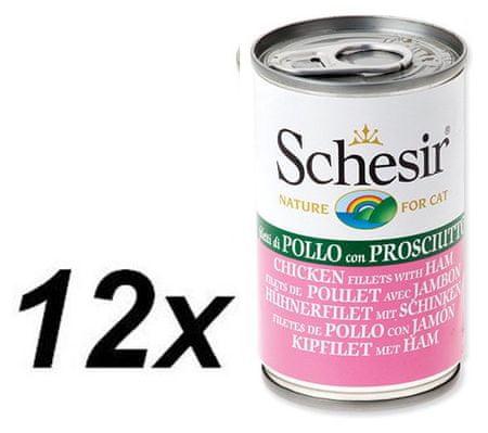 Schesir konzerva s piščancem in šunko, za mačke, 12 x 140g