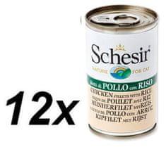 Schesir konzerva s piščancem in rižem, za mačke, 12 x 140g