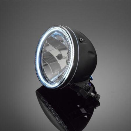 Highway-Hawk hlavní světlo na motocykl  s obrysovým LED světlem (angle eyes), E-mark, černé, (1ks)