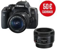 Canon DSLR fotoaparat EOS 750D + EF-S 18-55mm IS STM + EF 50mm f/1,8 STM