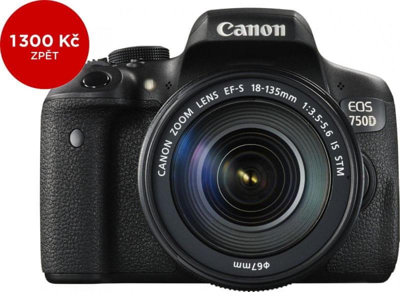 Canon EOS 750D + 18-135 mm IS STM + 1300 Kč od Canonu zpět!