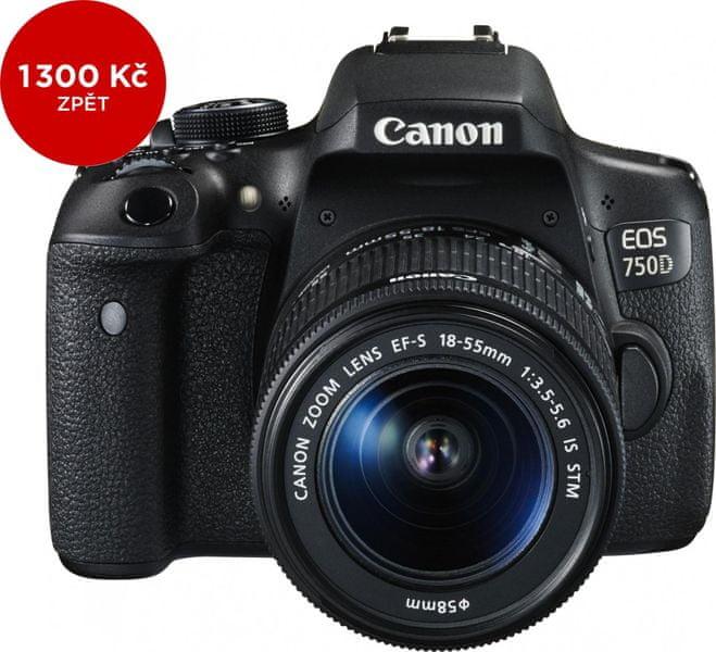 Canon EOS 750D + 18-55 mm IS STM + 1300 Kč od Canonu zpět!
