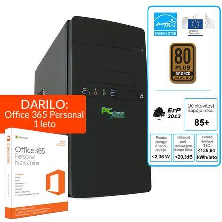 PCplus namizni računalnik E-Office i3-7100/4GB/240GBSSD/Win10H + 1 leto Office 365 Personal